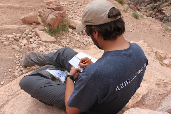 Taking notes on the Grand Canyon hike