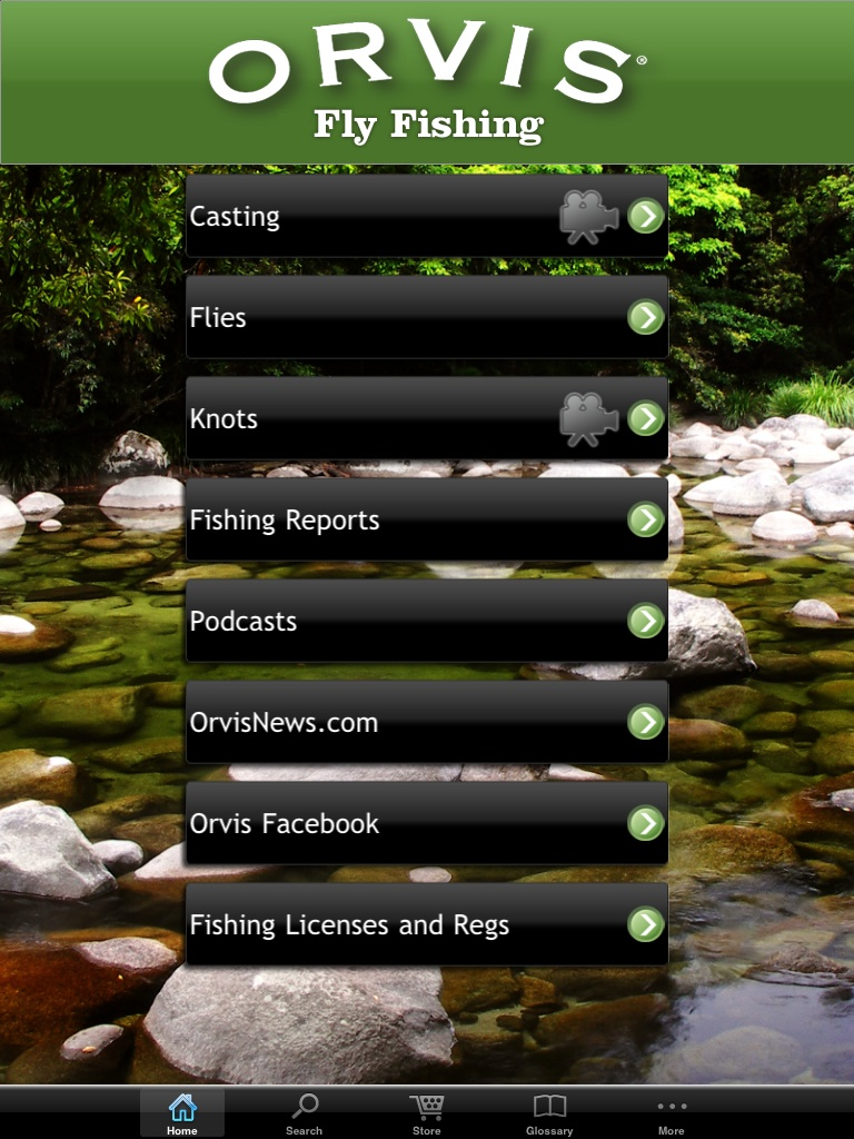 Front Page of the Orvis Fly Fishing App