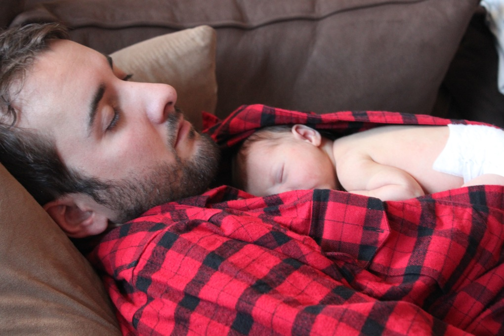 Snuggling on the couch in Flannel