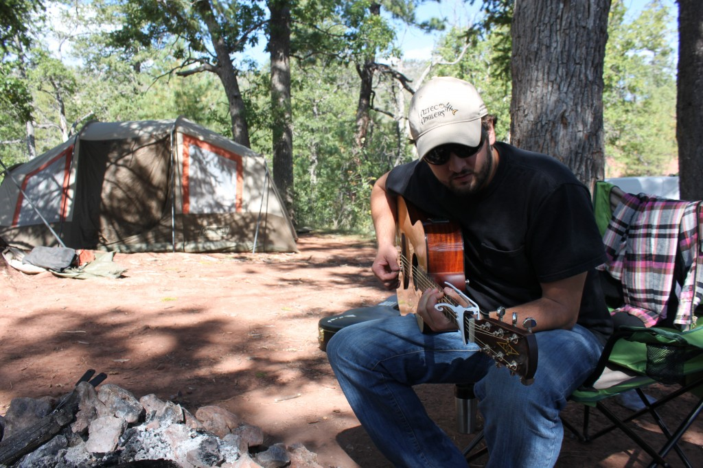 A little guitar playing around camp