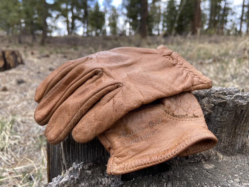 Maroon Bell Buffalo Leather Ranching Gloves